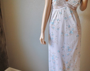 NWT Vintage Long White Floral Nightgown with Tie Straps - by Montgomery Ward - Medium