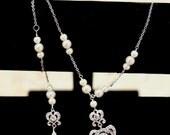 Backdrop Lariat, Bridal Necklace,  Long Back Chain Necklace, Wedding Necklace, Drop necklace, Double Drop, Vintage Jewelry, Wedding jewelry,