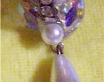 Pierced Earrings Swarvowski Rhinestones & Pearl Drop Todd Anothy