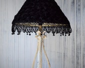Bedroom table  lamp French Apartment Black chiffon rose covered lampshade  White ecru wash