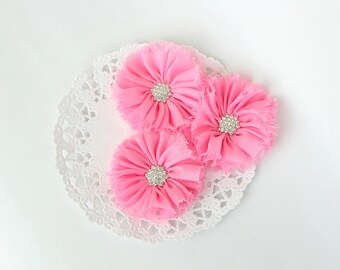 """3 pcs - PINK Shabby Flowers with rhinestone buttons - Chiffon Frayed Flower - Fabric Flower - 2.4"""" Flowers - Wholesale Fabric Flower"""