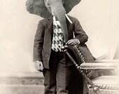Dr. L. E. Phant - Vintage Art Print - Elephant 5x7 - Anthropomorphic - Altered Photo - Whimsical - Fantasy - Photo Collage Art - Gift Idea