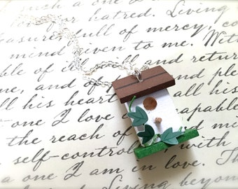 Miniature Wood Birdhouse Necklace. Brown. Green. Woodland. Cute Little Birds. Miniature House. Garden. Silver Chain. Under 20. Gifts. Unique