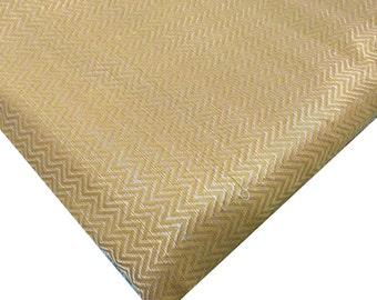 Yellow and Gold Chevron Weaving Brocade Silk - Half Yard Indian Silk Fabric