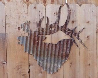 Large Corrugated Metal  Elk Head Wall Hanging