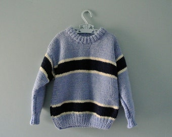 Vintage handknit blue striped sweater / Sky Blue Chunky Knit Pullover Sweater / Toddler Boy 24 Months / 2T to 3T