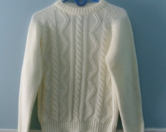 Children's 70's Cable Knit Sweater / Vintage fisherman knit acrylic jumper / size 10 /12