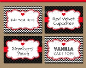 Valentines Day Labels - Printable Chevron Black Red Candy Buffet Labels, Tent Cards - EDITABLE Valentine Buffet Cards, Food Tags - RBCV