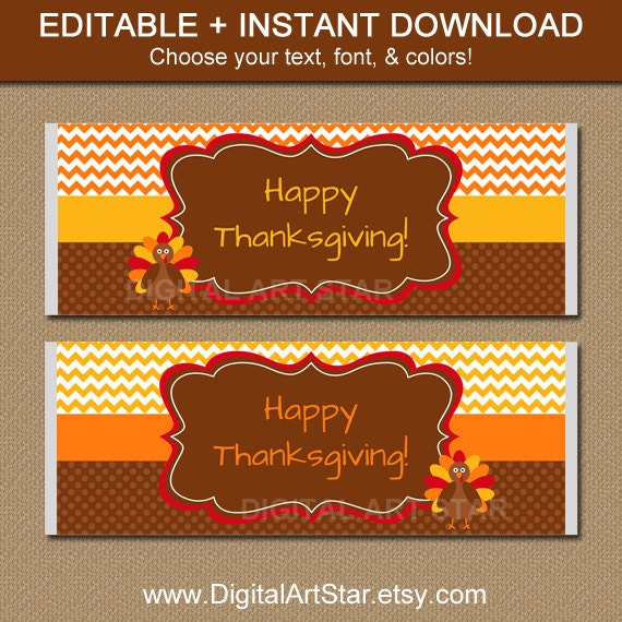 Thanksgiving Chocolate Bar Wrappers Printable by ...