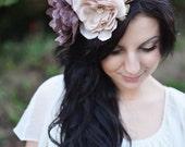 Flower Crown Purple and Blush, Boho Wedding, Bridal Headpiece