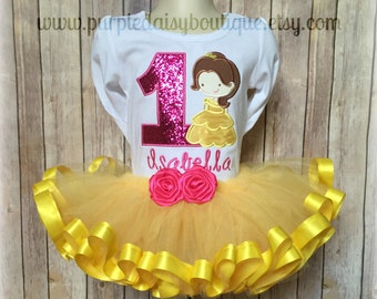 Yellow Princess Ribbon Trim Tutu Birthday Outfit