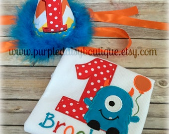 Monster Theme Birthday Shirt and Matching Hat