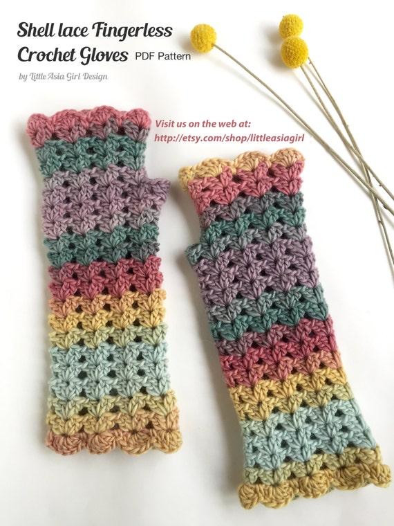 Crochet shell lace fingerless gloves pdf pattern shell mitten pattern