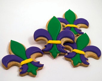 Decorated Cookies - Fleur de Lis - Mardis Gras - 1 DOZEN