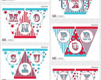 Full Alphabet Banner Kit, Carnival Banner, Circus Banner, Carnival Bunting, Circus Bunting, Carnival Party Banner, Circus Party Banner