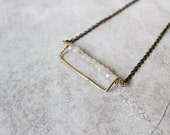 Rectangle Necklace, Brass Bar Necklace, Rutilated Quartz Necklace, Milky White Necklace