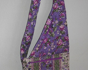 Handmade Cross-body Purse With  Quilted Purple Print