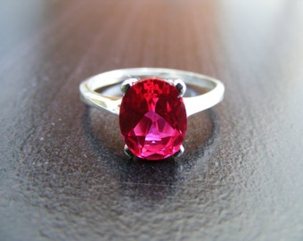 15% Off Sale.S313 Made to Order...New Sterling Silver Simple Contemporary Designed Ring With 3 Carat Lab Ruby Gemstone