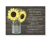 Rustic Sunflower Wood Mason Jar Family Reunion Invitations - Yellow Flowers Brown - Printed Invitations