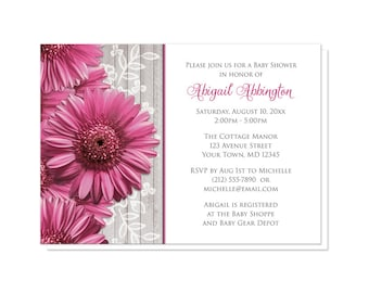 Rustic Pink Gerbera Daisy Baby Shower Invitations