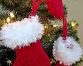 Set of 3 Miniature Knitted Christmas Stockings, Christmas Tree Ornaments, Christmas Decoration