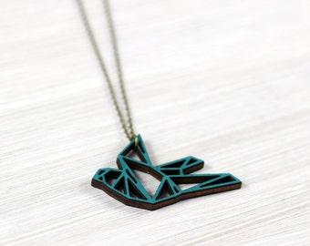origami bird necklace petrol wooden pendant