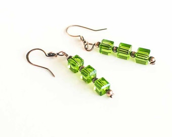 Copper Earrings Green Glass Cube Beads Antiqued Copper Earrings Green Earrings Hand Made Handmade
