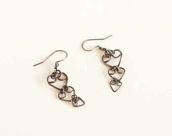 Copper Earrings Hearts Triple Heart Earrings Antiqued Copper Handmade Copper Earwires Hand Made