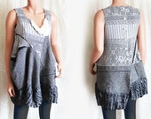 Grey Lace Top with Asymmetrical Draping in Bohemian Style Upcycled Clothing made in Knits and Wool Tunic Recycled Clothes Size Small Medium