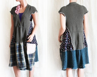 Green Cardigan in Earthy Floral Plaid with Pocket Upcycled Spring Clothing Recycled Clothes Size Medium