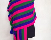 "Vintage stripe pink green blue cotton shawl rebozo Mexican tassles 27""x68"""