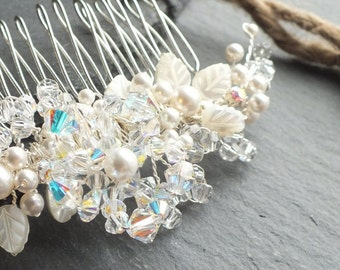 Pearl and crystal Hair Comb, bridal accessory, wedding hair, floral bridesmaid,bride,white,ivory,silver,