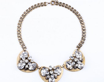 Bronze Crystal heart statement choker necklace
