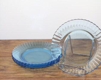 Fortecrisa Ice Blue Plates.  Blue Lunch Plates. Blue Dessert Plates. Blue Glass.  Mexican Glass. Vintage Kitchen. Vintage Wedding