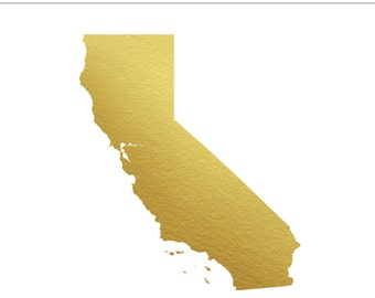 California Gold Foil State Clip Art - Commercial Use, Los Angeles, San Diego, San Francisco, Wedding, Invitation - INSTANT DOWNLOAD