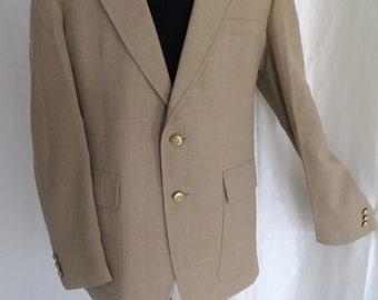 Mens vintage 80s sportcoat sportsjacket blazer suit jacket Spring Summer camel tan two button size 42 44