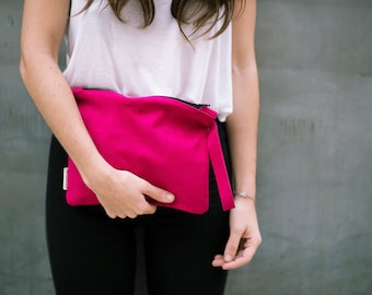 Wristlet Suede Clutch, Pink Suede Pouch, Pink Leather Bag, Hand Bag Suede, Unique Design, Zipper Pouch, One Of a Kind Suede Bag