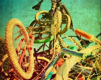 Portland Oregon Photo Bicycle Sculpture Colorful--Fine Art Urban Lomography 8x12