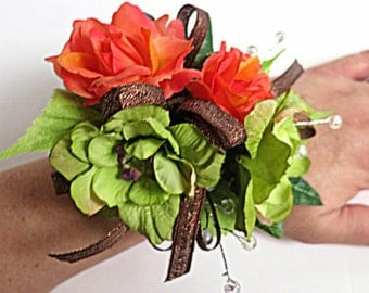 Faux Corsage - Wedding Corsage - Anniversary Corsage - Prom Corsage - Mother's Day Corsage - Lime Green And Coral Corsage