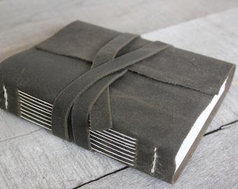 Handmade Leather Journal with Wrap-Around Closure, Coal