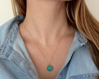 Circle Turquoise Stone Pendant Necklace - 14k Gold Fill Chain