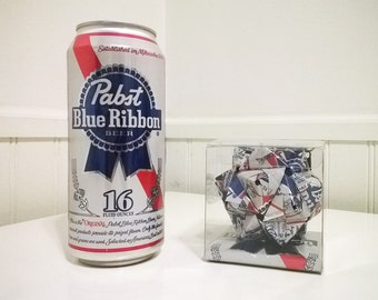 PBR Can Origami Ornament.  Upcycled Recycled Repurposed Art