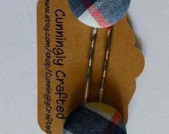 Plaid Fabric Button Bobbie Pins