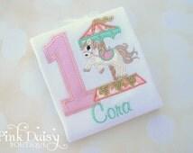 Girls Carousel Birthday Shirt - Pink, Mint, Gold, Peach Vintage Style Carousel Horse - Appliqué Birthday Shirt - Embroidered Shirt