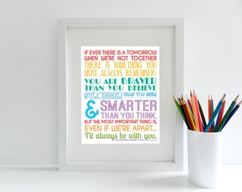 If Ever There Is A Tomorrow - Winnie The Pooh Quote - 8x10 inch print