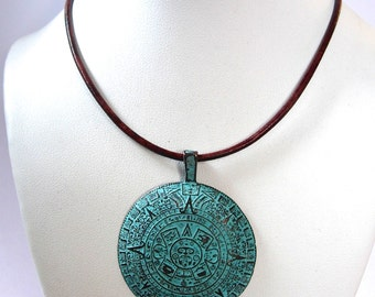 Copper Mayan Calendar Pendant with Green Patina on a Leather Choker Mykonos Castings Spiral Clasp Tribal Style Yoga Meditation Jewelry