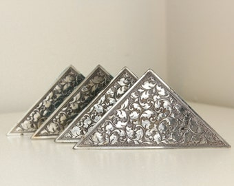 Vintage Silverplate Desk Blotter Corners by Eleanor Claire — Filagree Leaf & Vine Pattern — Japan