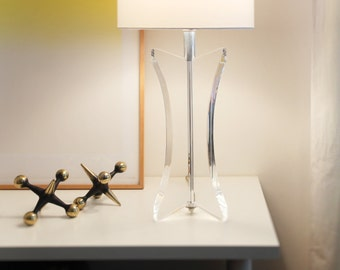Fabulous Pair of Ritts Astrolite Lucite Table Lamps — Atomic 3 Fin Styling, circa late 1970s, Rare