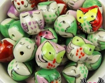 8 pcs Ceramic Owl Beads Mixed Owl Bead Pendant 15 x 14mm