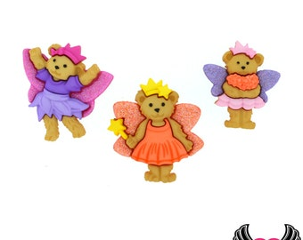 Jesse James Buttons 3pc FAIRY BEARS Teddy Bear Buttons OR Turn them Into Flatback Decoden Cabochons